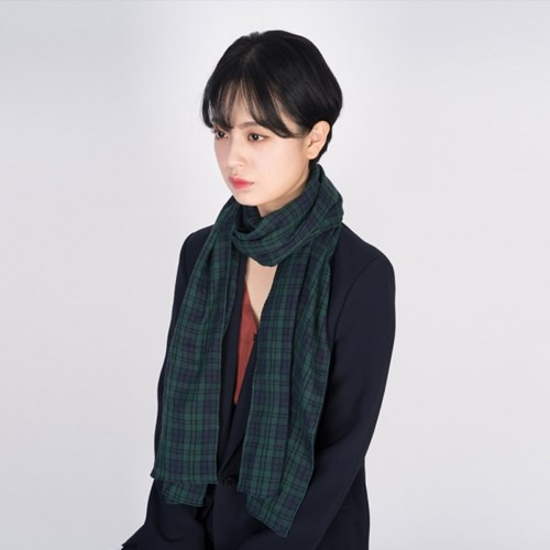check cotton long scarf