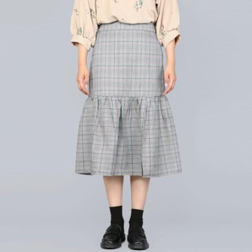 체크 프릴 롱 Skirt