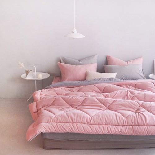 롬보 양면 차렵이불 - 핑크