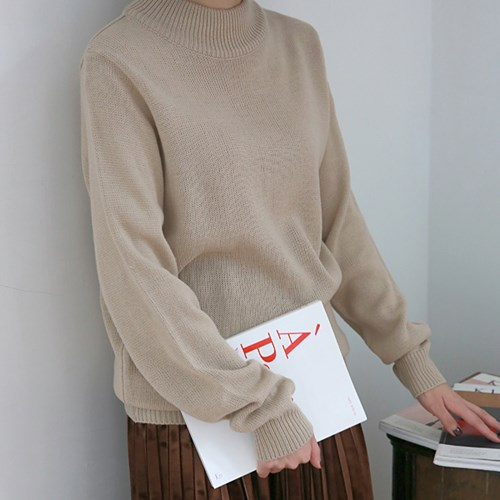 Basic mood half-neck knit