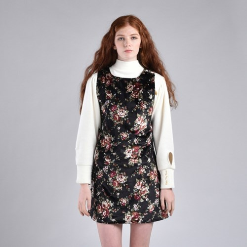 [hand me down/핸드미다운] Flower Printed Velvet Little Dress