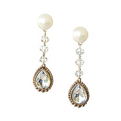 [하우즈쉬나우] 엔틱 화이트 드롭- Crystal Evening Earrings