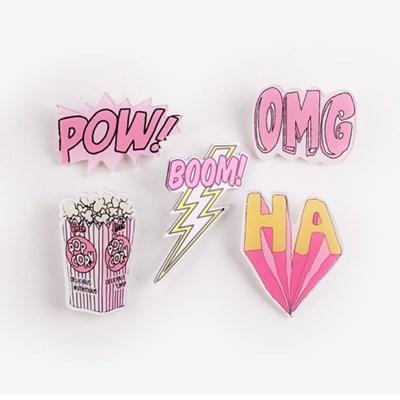 핑크 뿜뿜 아크릴 뱃지
