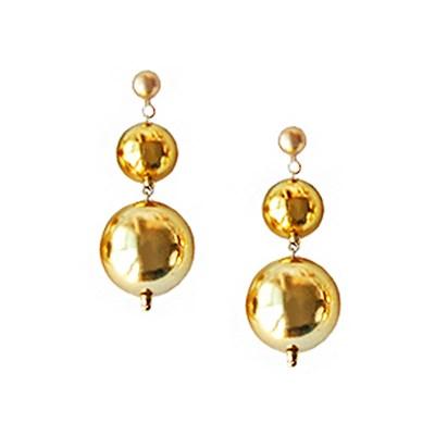 [하우즈쉬나우] Merry Gold Shine Ball Earrings (Short)