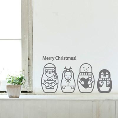 산타스티커, 눈사람스티커_ 산타 마트로시카 그래픽스티커