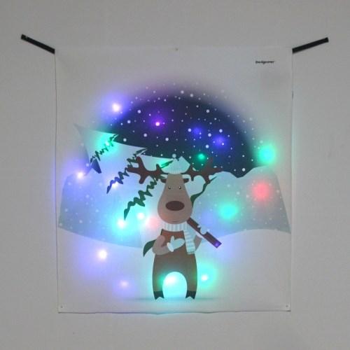 트리 루돌프 LED 패브릭 액자 포스터 커튼 벽트리 (58x66cm)
