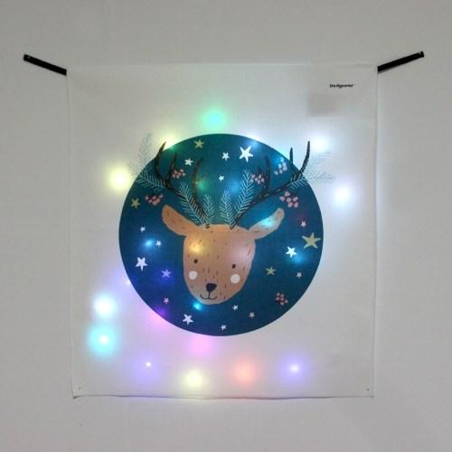 밤하늘 루돌프 LED 패브릭 액자 포스터 커튼 벽트리 (58x66cm)