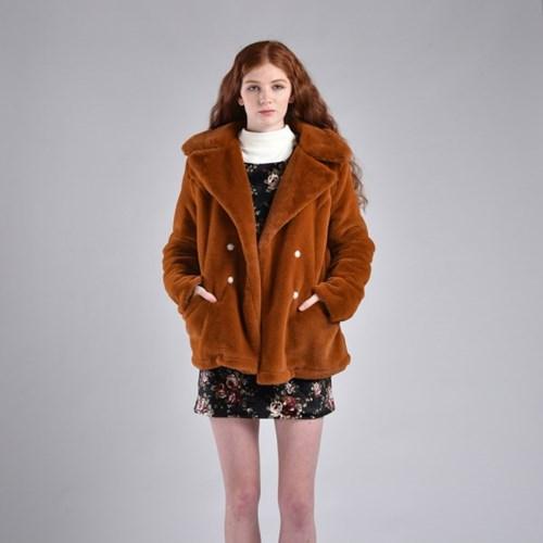 [hand me down/핸드미다운] Retro Fuax Mink Fur Coat
