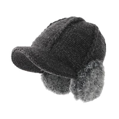 [베네]꽈배기라인 퍼 귀마개 모자