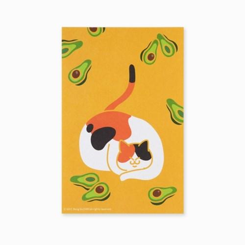 블링블링 식빵뚱냥 반짝이는 펄 엽서 - 아보카도