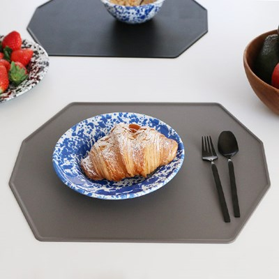 실리콘 폴리곤 식탁매트 - 딥브라운