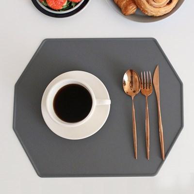실리콘 폴리곤 식탁매트 - 쿨그레이