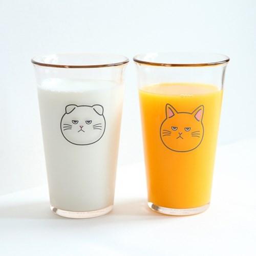 고양이 강화 유리컵 500ml