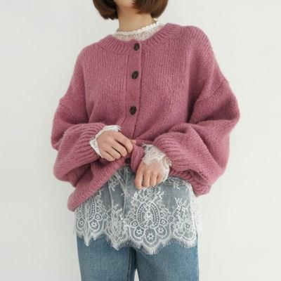 Loose wool round neck cardigan