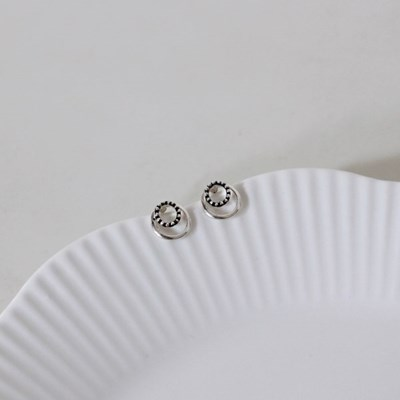 Double round earring (더블 원형 귀걸이) [92.5 silver]