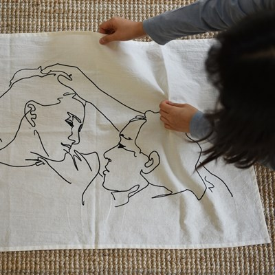 Drawing fabric poster