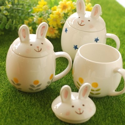 토끼 뚜껑머그(큰사이즈)