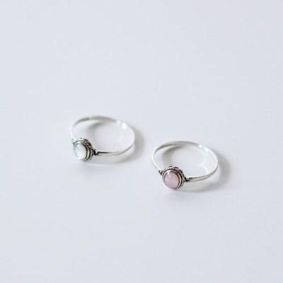 [2 colors] Vintage motherpearl ring(빈티지 실버 자개 반지)