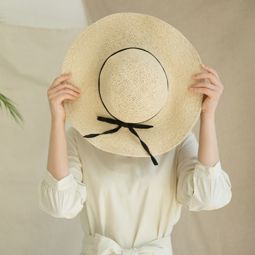 [2 colors]wide ribbon hat