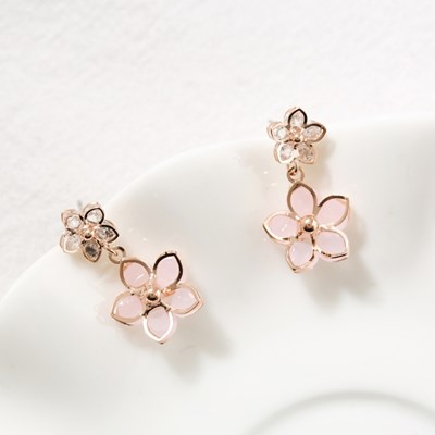 [재입고] 핑크 벚꽃 드롭 귀걸이