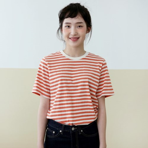 COLOR STRIPE TEE-RED