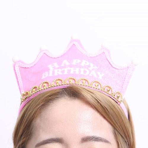 LED 반짝이 생일 왕관 (핑크)_(301526540)