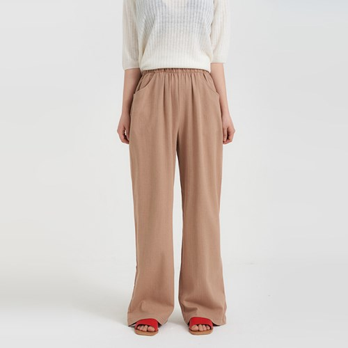 banding simple linen pants (3colors)