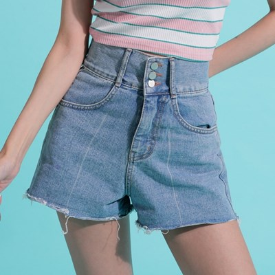 Three Button High Waist Denim Shorts
