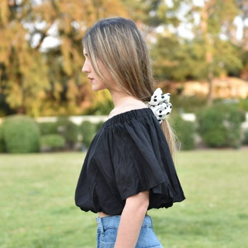 Balloon Off Shoulder Cropped Blouse -Black