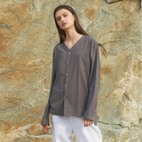 BASE COLLARLESS WASHING SHIRTS LIGHT BROWN
