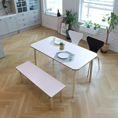 스웨디시 에쉬 원목 4인 식탁(그레이'핑크'베이지)