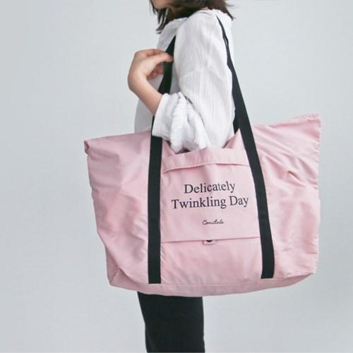 코니테일 방수 폴딩 쇼퍼백 - 핑크 (여행가방 낮잠이불)