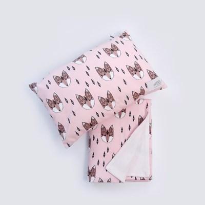 [율그란] 오가닉 아기블랭킷+아기베개 (낮잠이불겸용) 폭스핑크