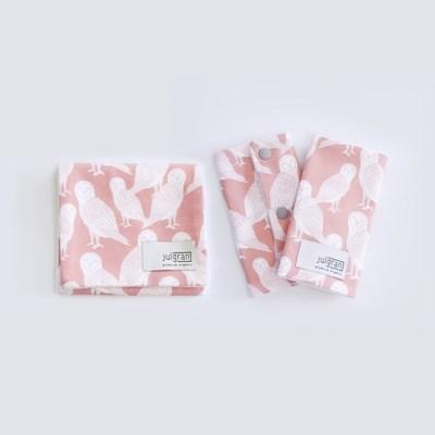 [율그란] 오가닉 아기띠침받이+버피트림타올 SET (오울스코랄)