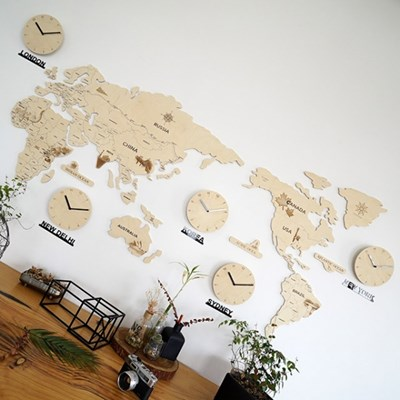 실크로드 세계지도 벽시계 (대)