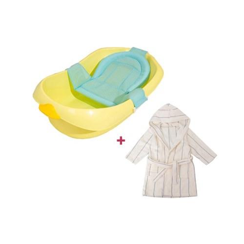 [베이비캠프]오리 캐릭터 아기욕조+목욕가운세트