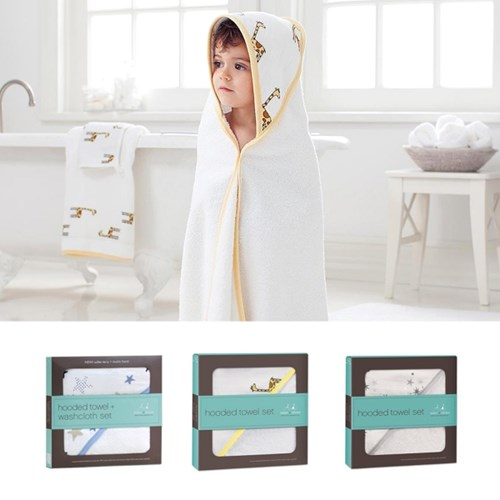 머슬린 후드타올&목욕타올 세트 - 디자인선택