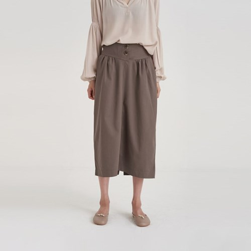 two button shirring skirt (3colors)
