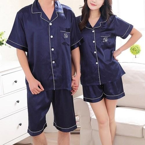 [안녕잘자] 당일발송 실크 반팔 커플 잠옷세트 (2color)