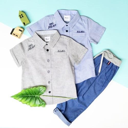 IA2WS601B - 자수 스트라이프 반팔 셔츠