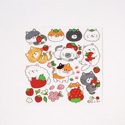 [또자] 딸기고양이 스티커 (5장+5장)