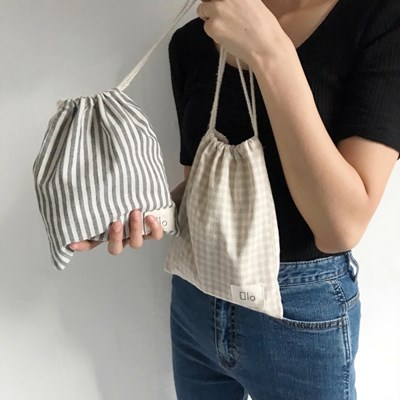 Natural String Pouch (STRIPE/CHECK)