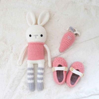 토끼인형 아기신발 딸랑이 3종 DIY 세트