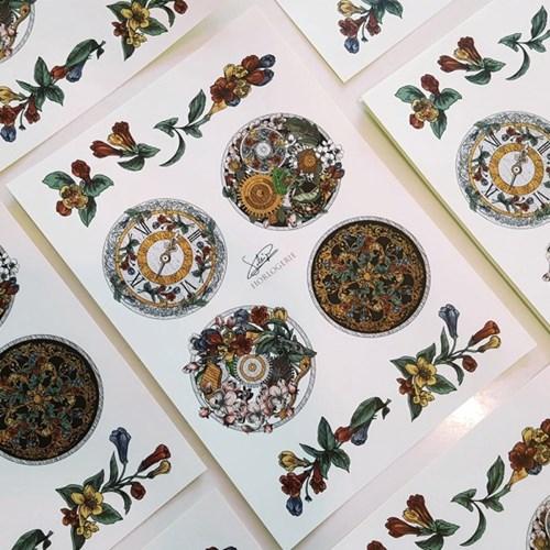 saleign sticker #1 꽃장식 시계