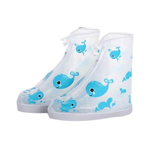 장마철 휴대용 PVC 방수 슈즈 신발 돌핀 레인커버_(869855)