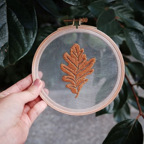 프랑스자수 투명자수액자 DIY 키트 - 개암나무잎 Hazel leaf