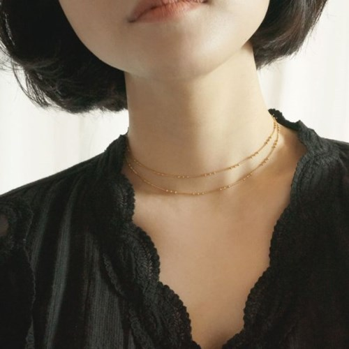 Layered 3 ball fall chain necklace