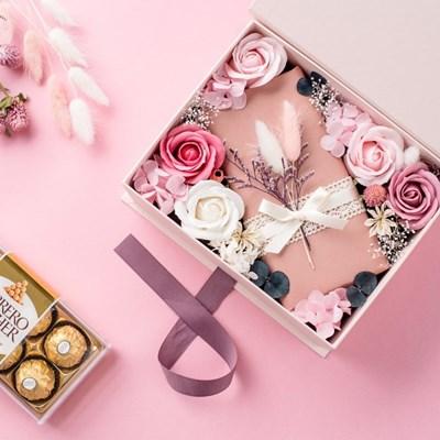 프리저브드 초콜릿 플라워박스3종세트_핑크(플라워박스+쇼핑백+카드)