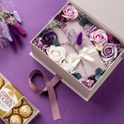 프리저브드 초콜릿 플라워박스3종세트_퍼플(플라워박스+쇼핑백+카드)