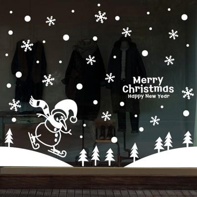 cmi278-스키타는 눈사람-크리스마스스티커